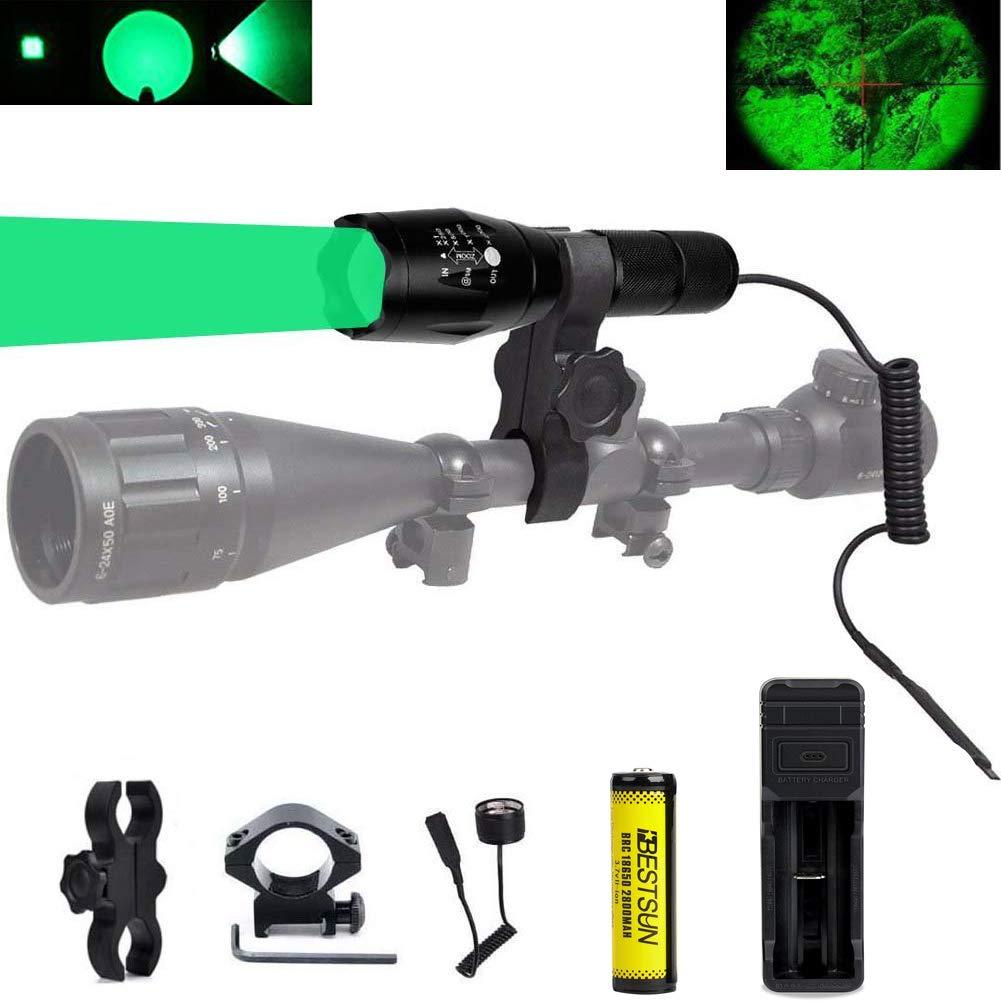 LED verte 274,3 m mise au point réglable lampe torche tactique avec interrupteur à pression, observation et montage Rail Mount, Batterie, chargeur de batterie pour Coyote Predator Varmint Chasse