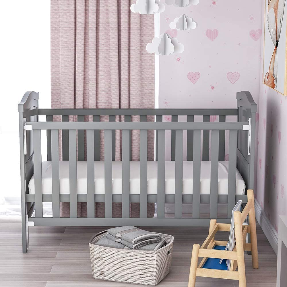 White 3 Adjustable Position,Converts into a Junior Bed Single-Handed Dropside Mechanism MOOSENG Solid Wood Baby Cot Bed Toddler Bed with Foam Mattress