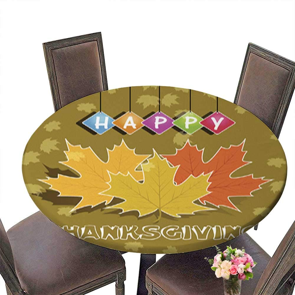 Polyester Round Tablecloths,Happy Thanksgiving for Indoor and Outdoor Use up to 31.5''-33.5'' Diameter