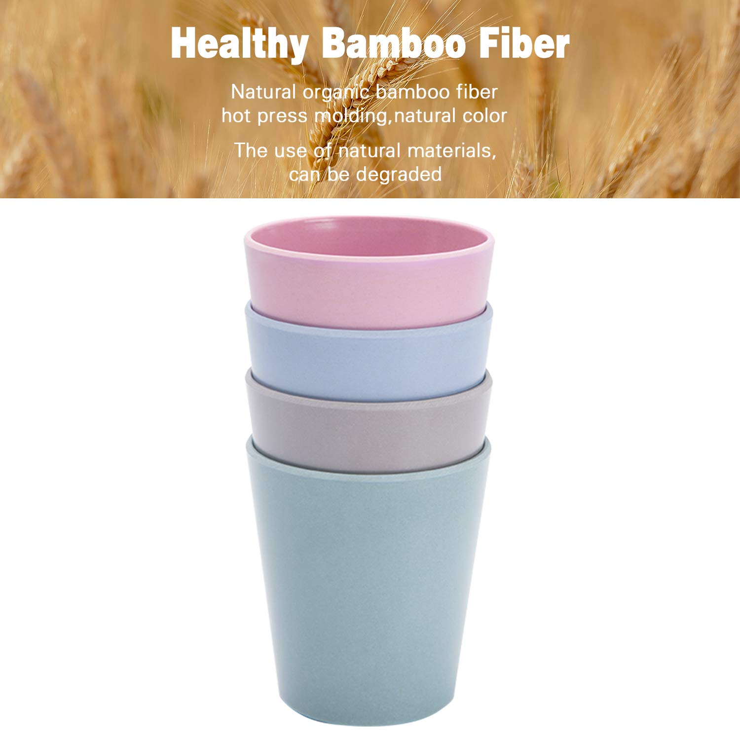 4pcs Bamboo Kids Cups (10 fl oz) for Baby Feeding, Non Toxic & Safe Toddler Cups for Drinking, Eco-Friendly Tableware for Baby Toddler Kids Bamboo Kids Dinnerware Sets by HM-tech