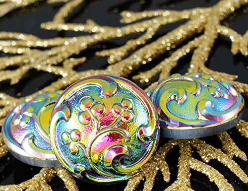 Dichroic Glass Buttons - 1pc Handmade Czech Glass Domed Button Metallic Volcano Dichroic Vitrail Flower Size 10, 22.5mm