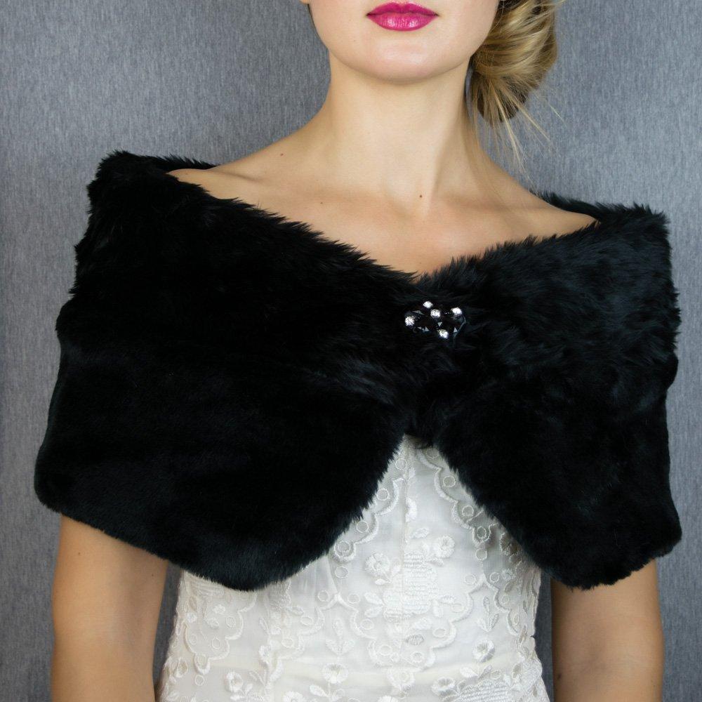 Châle Écharpe Étole Fourrure Femme Mariage sur Robe de Soirée Mariée en Faux Fourrure noir