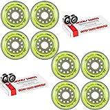 Labeda Inline Roller Hockey Skate Wheels Union Yellow 76mm Set of 8 Bones Swiss