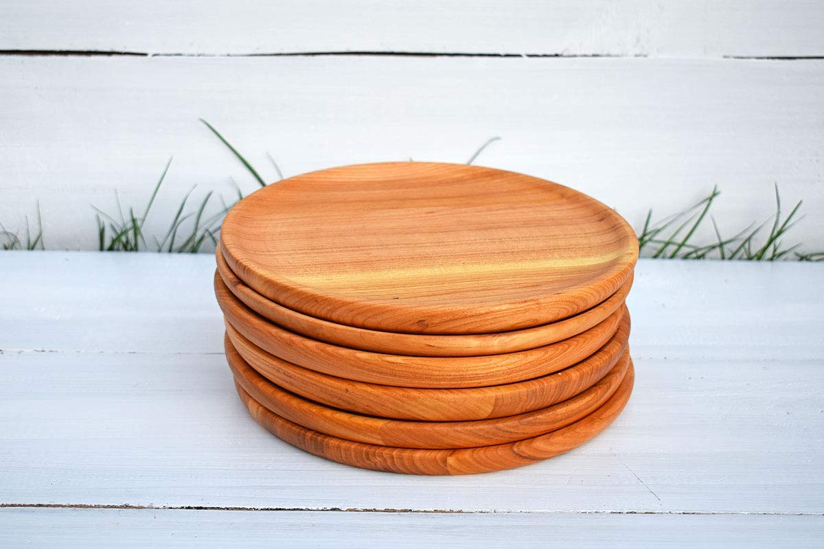 SET of 6x 10 Wood Plates Round Wooden Plates for Kids Flatware Rustic Wedding Dinner Plates Rustic Wood Dish Wooden Serving Plateau Baby Shower Decorations Eco-friendly
