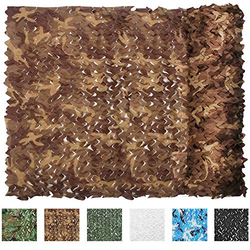 IUNIO Camouflage Netting Camo Net Blinds for Sunshade Camping Shooting Hunting Decoration (Desert, 16.4ftx5ft 5mx1.5m)