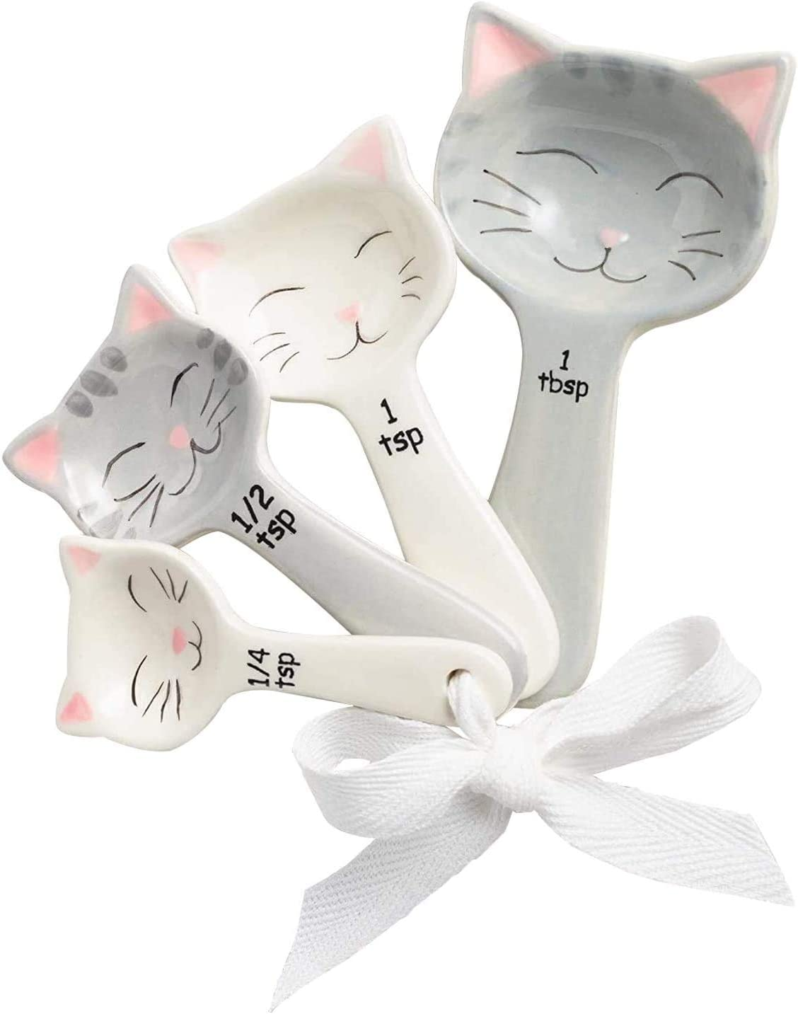 Cat Shaped Ceramic Measuring Spoons - Perfect for Cat Lover - Cat Ceramic Measuring Spoons Baking Tool - Creative Functional Kitchen Decor - Comes in White and Gray - Set of 4