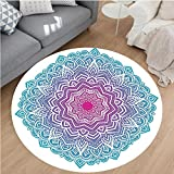 Nalahome Modern Flannel Microfiber Non-Slip Machine Washable Round Area Rug-al Starry Pattern with Soft Aqua Color Spiritual Meditation Theme Zen Art Pink Blue White area rugs Home Decor-Round 24''