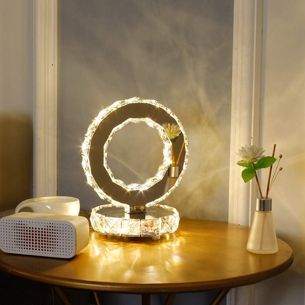 DAXGD Lámparas de mesa de cristal, lámparas LED modernas de acero inoxidable, luz de escritorio redonda de 18 W, Luz blanca cálida