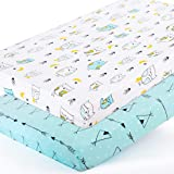 BROLEX Stretchy-Pack-n-Play-Playard-Sheets 2 Pack Portable Mini Crib Sheets,Convertible Playard Mattress Cover for Baby Boys Gilrs,Ultra Soft Jersey Knit,Arrow & Owl