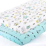 Stretchy-Pack-n-Play-Playard-Sheets-Brolex 2 Pack Portable Mini Crib Sheets,Convertible Playard Mattress Cover for Baby…