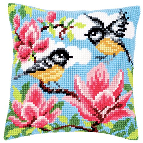 Tits and Magnolia Cushion Front Chunky Cross Stitch Kit Chunky Cross Stitch