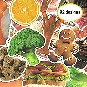 Food Stickers, Waterproof Vinyl Stickers (32 designs) - Bacon, Burgers, Broccoli, Cookies and more!