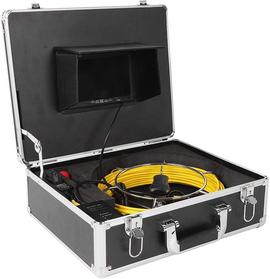 Cam/éra d/égout avec moniteur de 7 pouces syst/ème dinspection de tuyau souterrain /étanche IP68 endoscope industriel de canalisation de c/âble 20M EU Plug