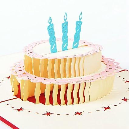 echony Pop-up 3d tarta de cumpleaños tarjetas de cumpleaños ...