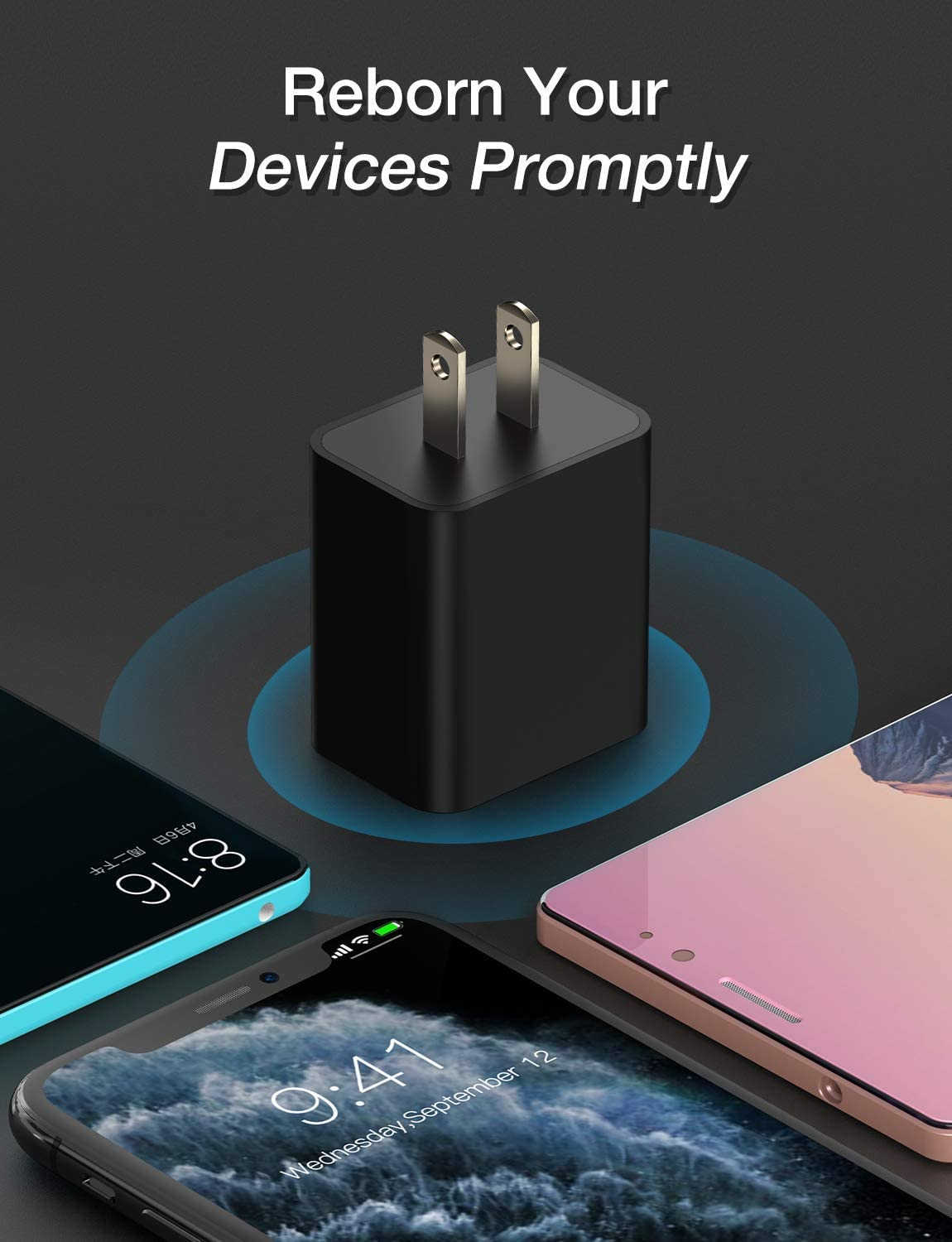Quick Charge 3.0 Adapter Galaxy S10//S9//S8//Note 9//8 and More-Black Seneo 18W Qucik USB Wall Charger for Wireless Charger Charging Adapter for iPhone 11//Pro Max//XS XR//X//8//8P//iPad