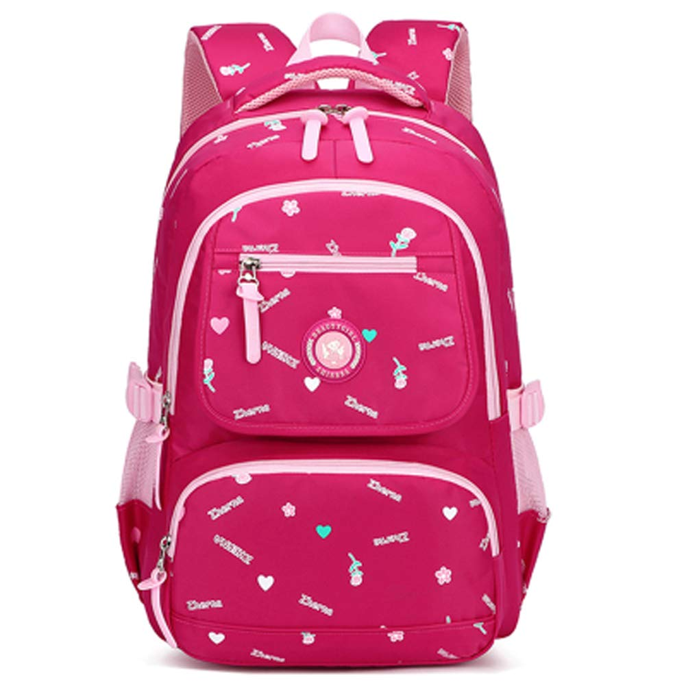 かわいい子供のバックパックキャンバスプリント小学校バッグを着用  ローズレッド B07QGDN93B