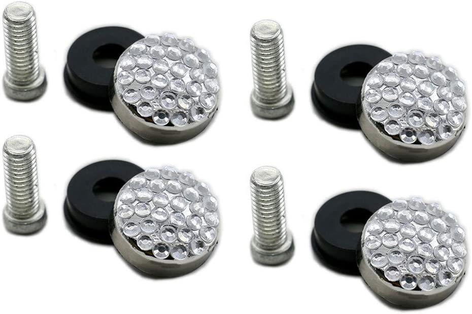 Stainless Steel License Plate Frame Screws Fasteners with Fancy Silver Rhinestone Screw Caps Kit for Cars and Trucks White + Anti-Theft Screw + Diamond