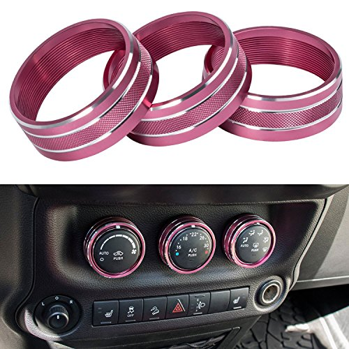 E-cowlboy Interior Audio Air Conditioning Button Cover Decoration Twist Switch Ring Trim for Jeep Wrangler JK JKU Compass Patriot 2011 2012 2013 2014 2015 2016 3PC/SET (Pink rose)