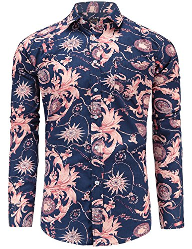 JEETOO Mens Pineapple Paisley Print Cotton Short Sleeve Casual Slim Fit Button Down Shirt