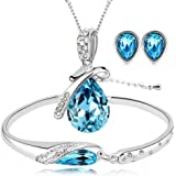 ISAACSONG.DESIGN Silver Tone Healing Crystal Rhinestone Drop Pendant Necklace, Bracelet, Earring Set for Women