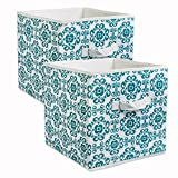 "DII Foldable Fabric Storage Containers for Nurseries, Offices, Closets, Home Decor, Cube Organizers & Everyday Storage Needs, (Large - 11 x 11 x 11"") Scroll Teal - Set of 2"