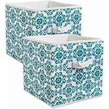 """DII Fabric Storage Bins for Nursery, Offices, & Home Organization, Containers Are Made To Fit Standard Cube Organizers (11x11x11"""") Scroll Teal - Set of 2"""