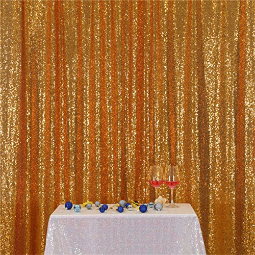 Eternal Beauty Gold Sequin Wedding Backdrop Photography Background Party Curtain, 7Ft X 7Ft