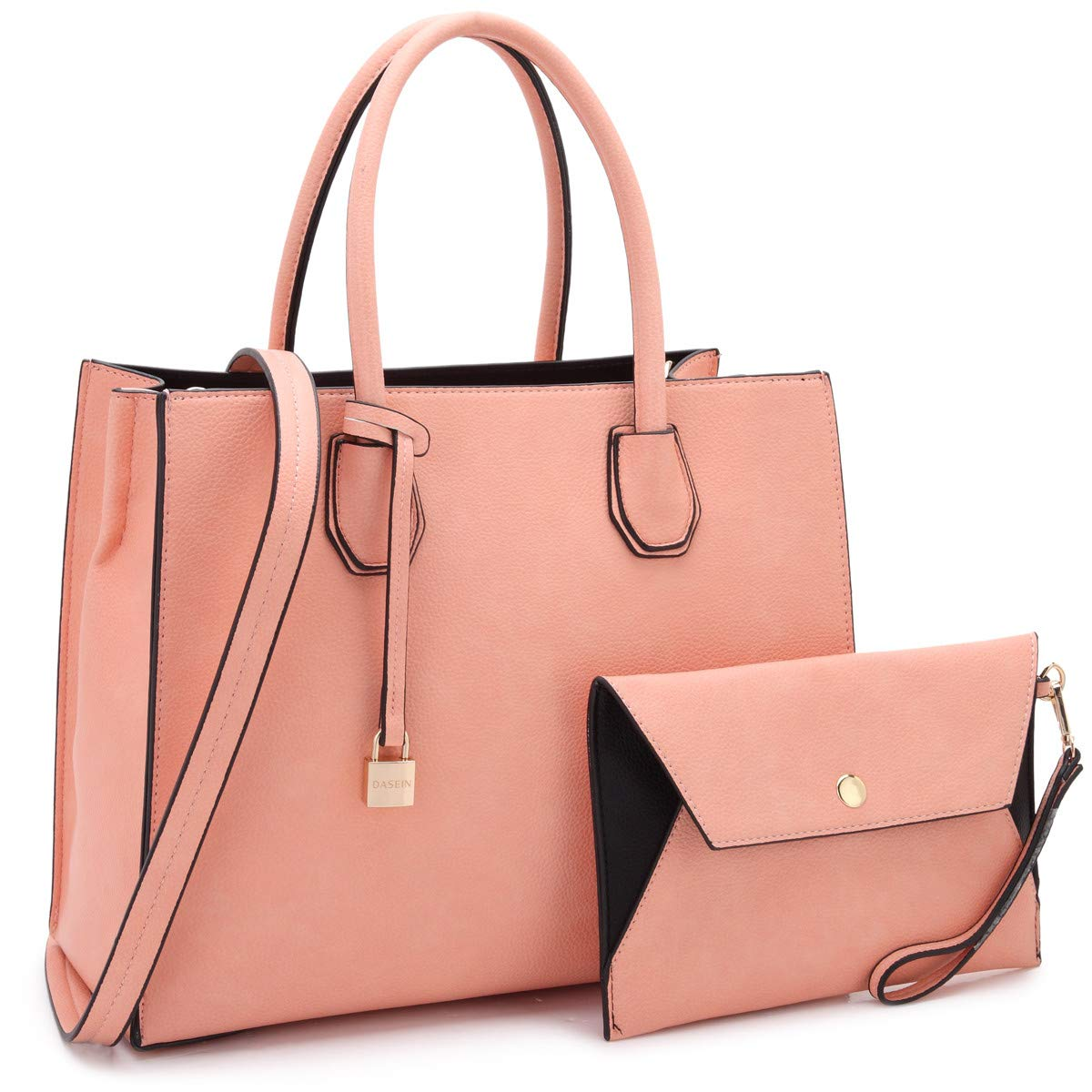 Women Fashion Handbag Matching wallet~Classic Women Satchel Tote Bag Shoulder Bags~Signature Women Designer Purse~Perfect Women Satchel handbag with Spring colors (FN-23-7661-PINK)