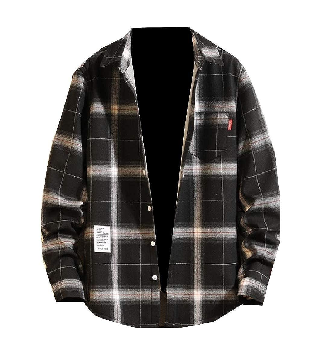 Sebaby Men Pockets Fleece Plaid Warm Thicken Long Sleeve Shirt Blouse Tops