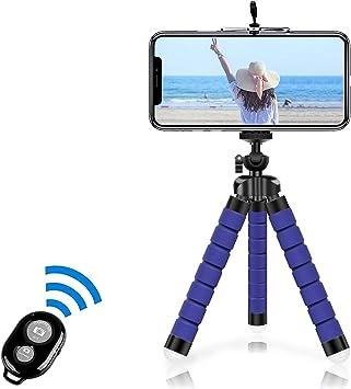 Oferta amazon: Alfort Mini Trípode, Trípode Móvil Flexible 360°Rotación Teléfonos de Soporte con Control Remoto Portátil Trípode para iPhone 8/8 Plus/Sumsung Galaxy/Huawei y Otros iOS/Android (5.5'' Azul Oscuro)