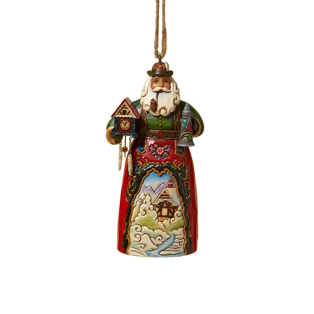 Enesco Jim Shore Heartwood Creek German Santa Stone Resin Hanging Ornament, 4.75""