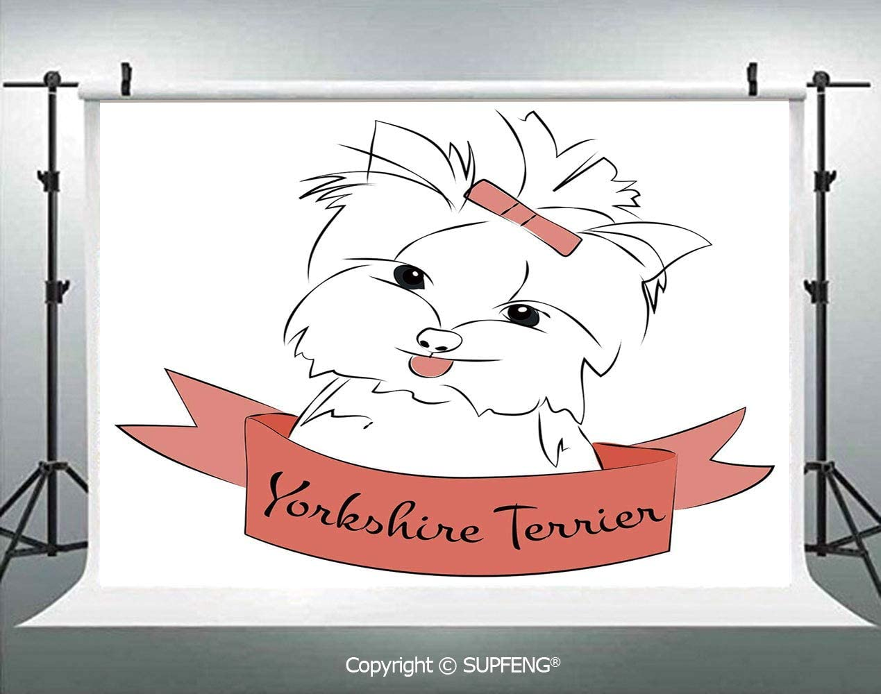7x10 FT Vinyl Photography Backdrop,Cute Puppy with Hair Buckle Yorkie Terrier Animal Ribbon Cartoon Character Print Background for Child Baby Shower Photo Studio Prop Photobooth Photoshoot