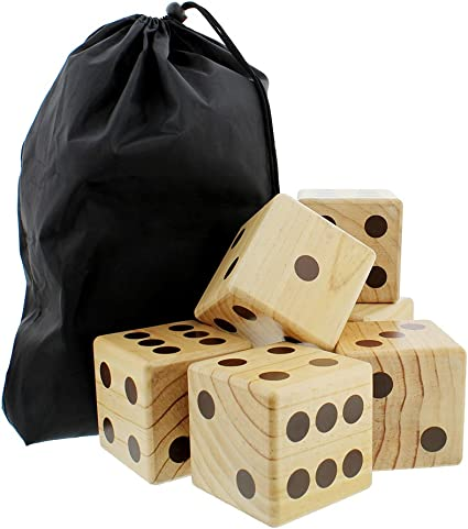 Giant Yard Dice 6-Pack Set Jumbo Outdoor Lawn Game Wooden Big Dice