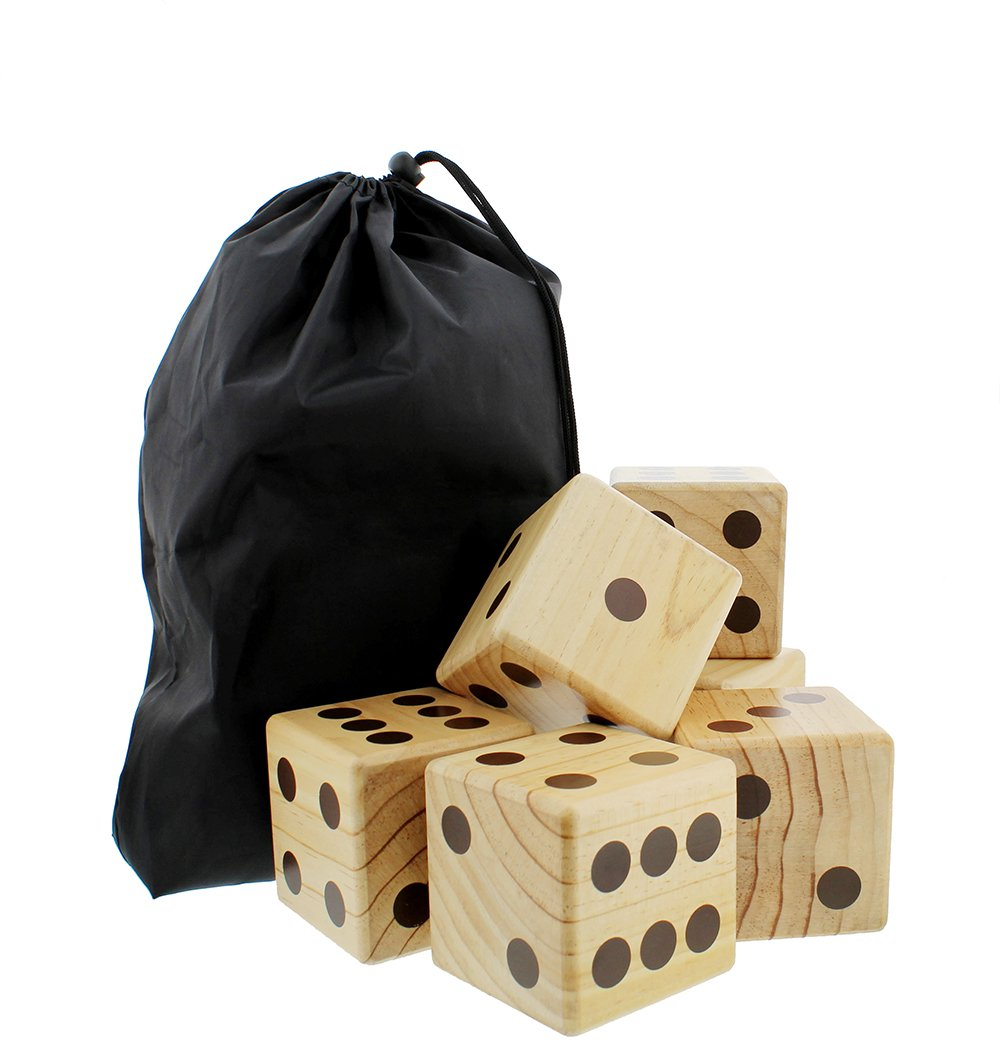Get Out!! Giant Yard Dice 6-Pack Set – Jumbo Outdoor Lawn Game, Wooden Extra Large Numbered Big Dice in Drawstring Bag