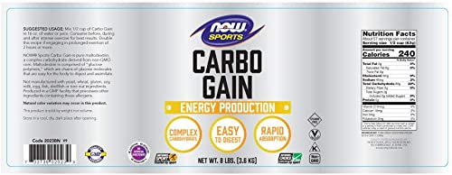 NOW Sports Nutrition, Carbo Gain Powder Maltodextrin , Rapid Absorption, Energy Production, 8-Pound