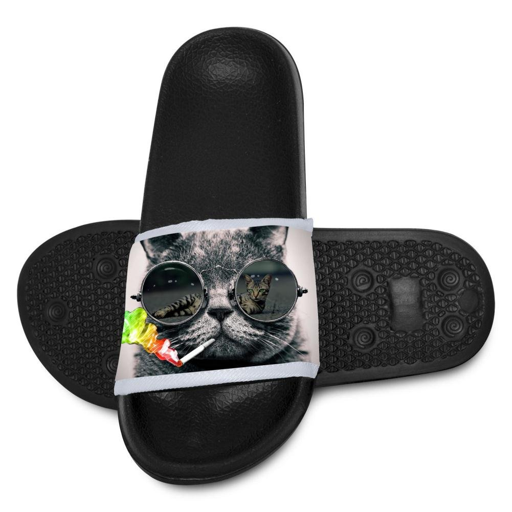 Kid Slippers Smoking Cat with Sunglasses Summer Beach Sandal Bathroom Flats Flip Flops Open Toed Slide Shoes