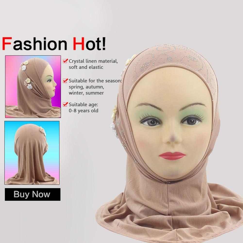 Occitop Kids Girls Muslim Headscarf Flowers Rhinestone Soft Arab Scarf Wrap Shawls