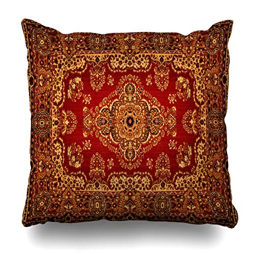 - DIYCow Throw Pillow Cover Pillowcase Red Oriental Persian Carpet Vintage Ornate Pattern Old Royal Ethnic Design Home Decor Design Square Size 20