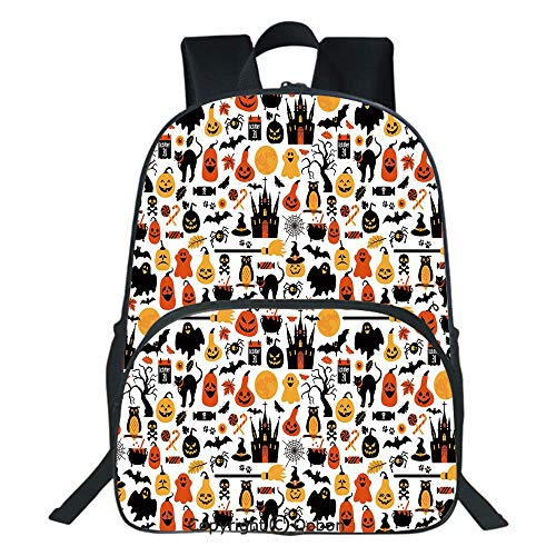 Oobon Kids Toddler School Waterproof 3D Cartoon Backpack, Halloween Icons Collection Candies Owls Castles Ghosts October 31 Theme Decorative, Fits 14 Inch Laptop ()