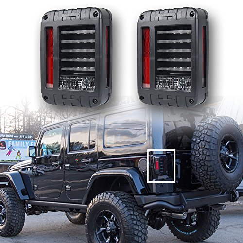 LITE-WAY Jeep Wrangler JK 2007-2017 LED Brake Reverse Stop Parking Backup Tail Lights Kit Turn Signal Taillight Assembly Daytime Running Lights Christmas Gifts (Jk Led Tail Lights compare prices)