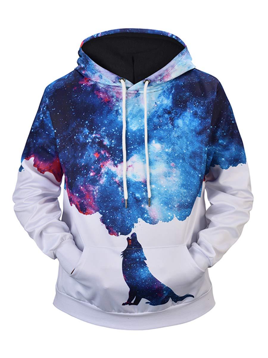 URVIP Unisex Realistic 3D Digital Print Pullover Hoodie Hooded Sweatshirts L6937 L by URVIP