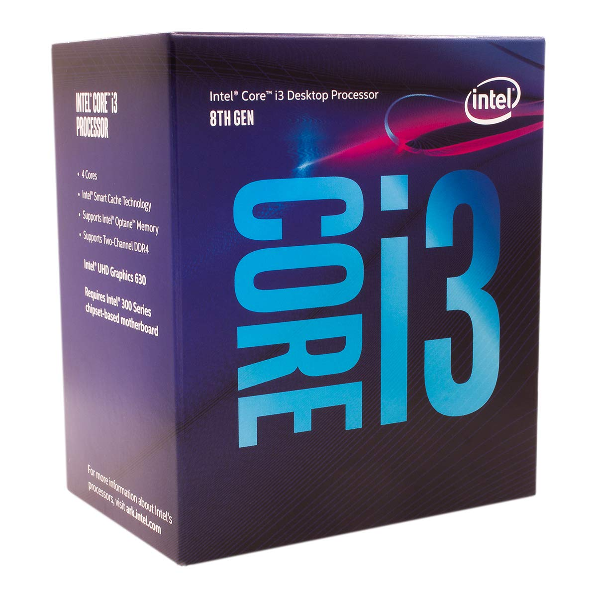 Intel Core i3-8100 Desktop Processor 4 Cores up to 3.6 GHz Turbo Unlocked LGA1151 300 Series 95W by Intel