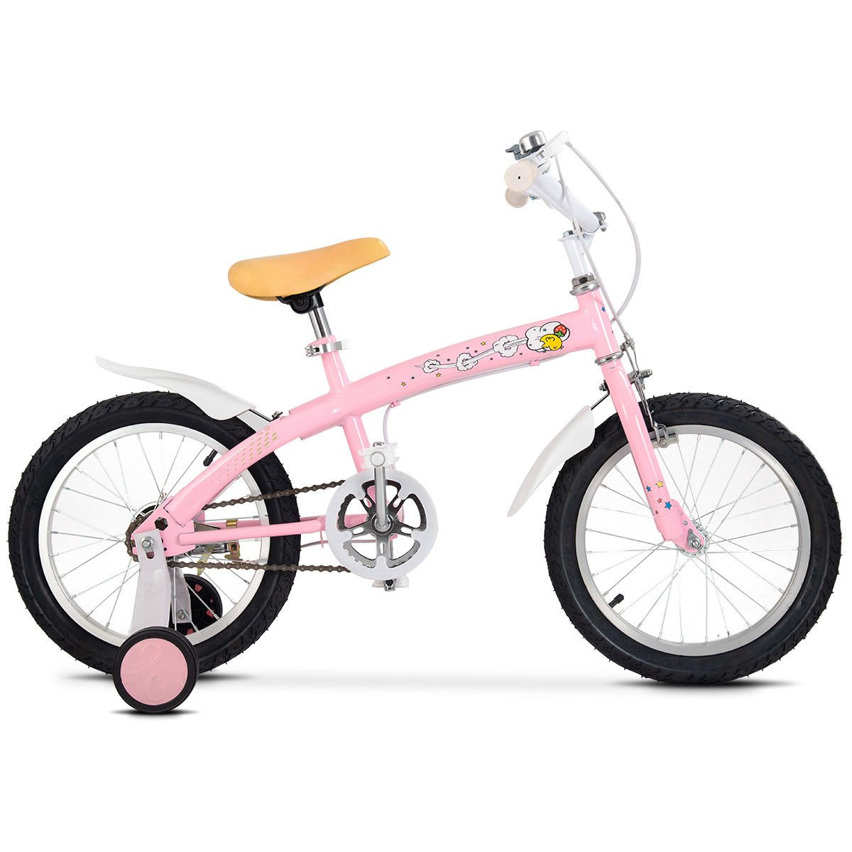 FDInspiration Pink 45'' x 31.5'' Metal Frame Kids Bike w/Training Wheels with Ebook by FDInspiration (Image #4)