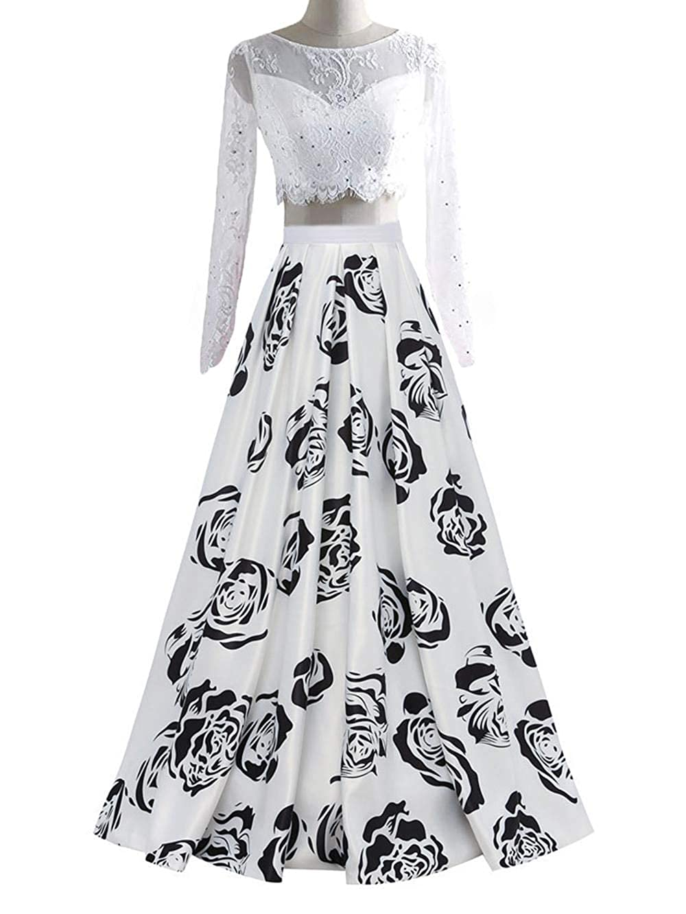 Sleevewhite1 Dydsz Long Evening Prom Dresses for Women Formal Gown with Pockets Print Floral D295