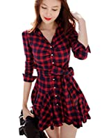 Daxin Lady Retro Long Sleeve Red Plaid Lapel V Neck Skirt Belted Casual Shirt Dress