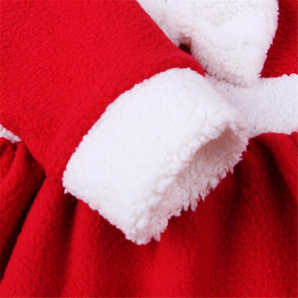 TMEOG Toddler Baby Girls Classic Christmas Santa Claus Dresses Cloak with Hat Suits Christmas Clothes Costumes Party Outfit Xmas Fancy Dress 12-18 Months