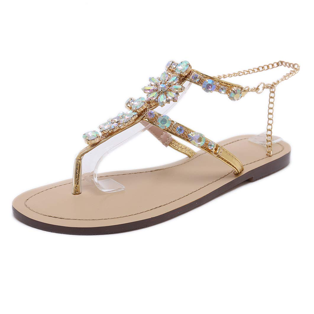 2dbf71312 Amazon.com  Stupmary Women Flat Sandals Crystal Summer Gladiator Sandals  Flip Flops Beach Party Shoes Chains Floral  Shoes