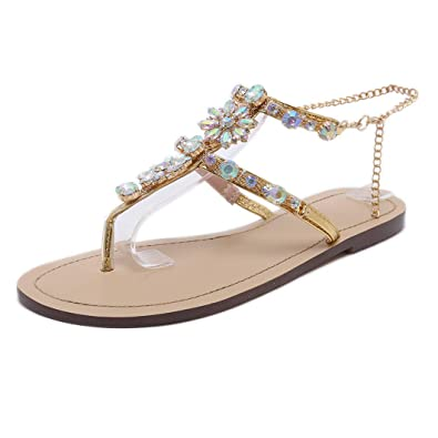 fd5221e56c24 Stupmary Women Flat Sandals Crystal Summer Gladiator Sandals Flip Flops  Beach Party Shoes Chains Floral Gold