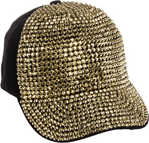Crystal Case Womens Cotton Gold Rhinestone Studded Baseball Cap Hat (Black/Gold)