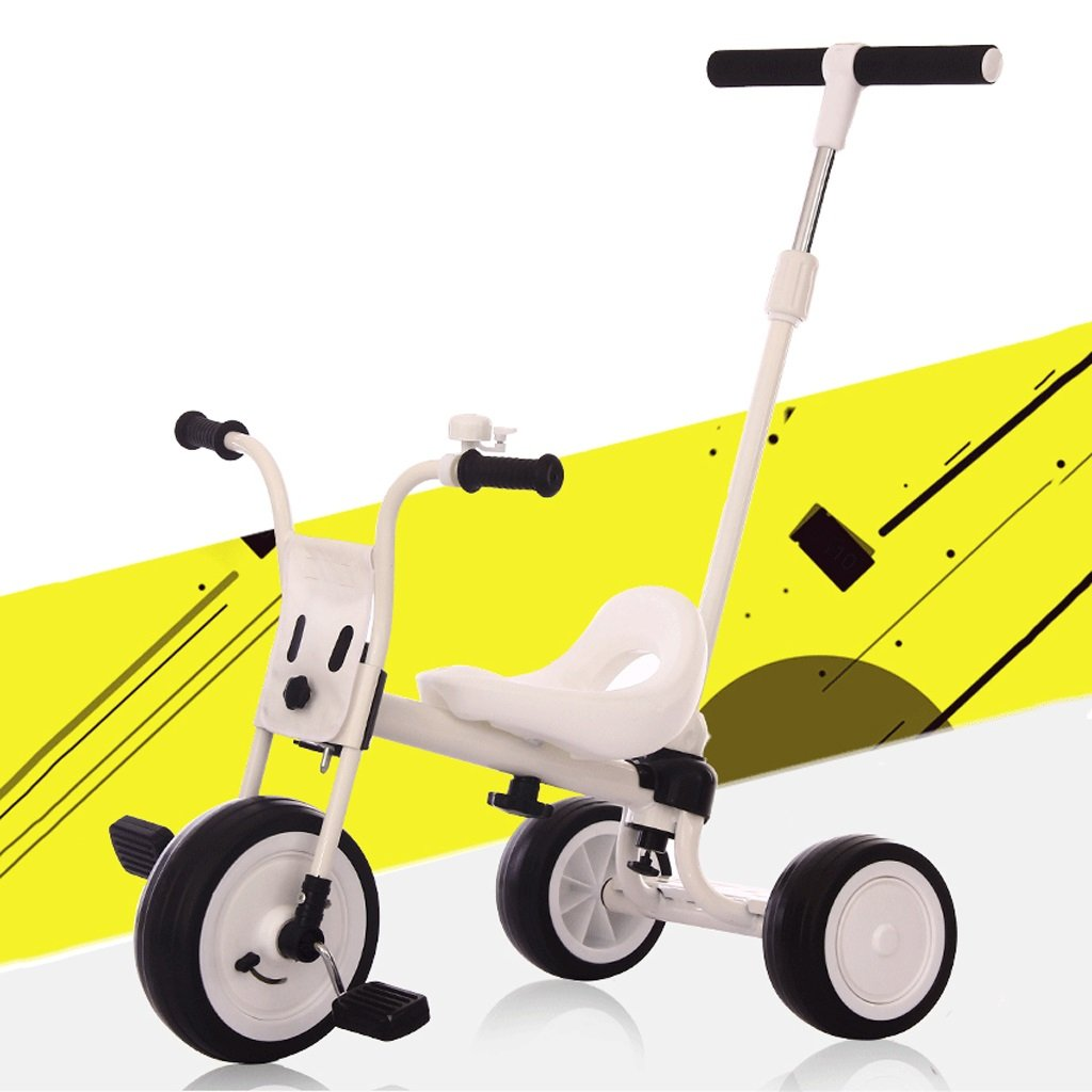 Fenfen Kinder Dreirad Einstellbar Push Rod Fahrrad 1-5 Jahre Alt Tragbare Push Bike High-Carbon Stahl Spielzeug Fahrrad, Weiß, 67  55  100 cm